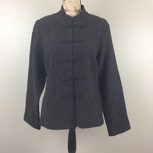 Eileen Fisher Asian Style Mandarin Brown Jacket, M